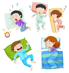 Boys and girls sleeping in bed vector