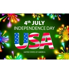 Happy july 4th firework green background vector