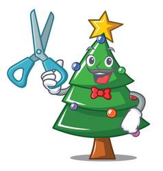 Barber christmas tree character cartoon vector