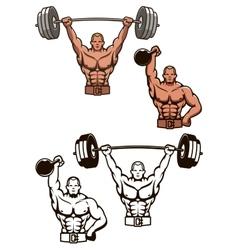 Bodybuilder lifting weights vector image