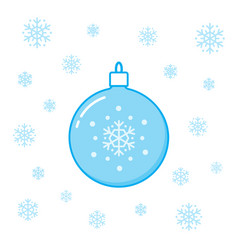 christmas toy ball and snowflakes vector image