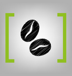 Coffee beans sign black scribble icon in vector