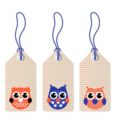 Cute halloween owl blank tags vector image