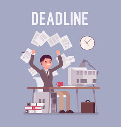 Deadline in paper work vector