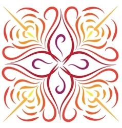 Doodle color abstract red orange flower vector