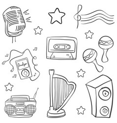 Doodle music object various collection vector