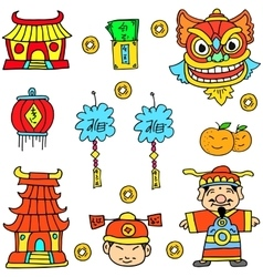 Doodle of object chinese celebration vector