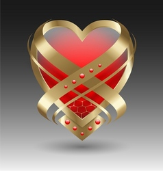 Elegant metallic heart embleme with embellishment vector