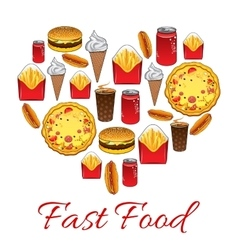 Fast food snacks poster vector