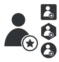 Favorite user icon set monochrome vector