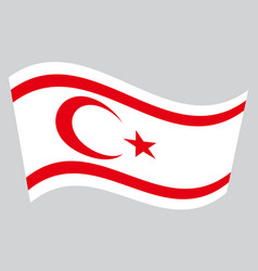 Flag of northern cyprus waving on gray background vector