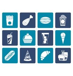 Flat fast food and drink icons vector image vector image