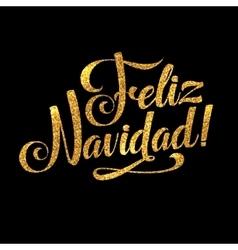 Gold merry christmas spanish card golden shiny vector