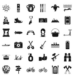 Great adventure icons set simple style vector