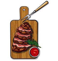 Grilled beef steaks vector