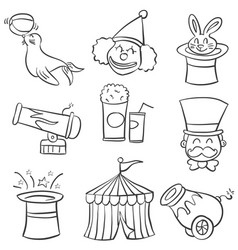Hand draw element circus of doodles vector