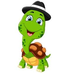 Happy cartoon turtle vector image