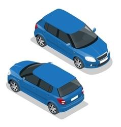 Hatchback car Flat 3d isometric vector image vector image