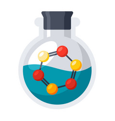 Laboratory flask with molecule vector
