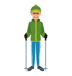 Man with clothes snow hat and goggles sticks ski vector