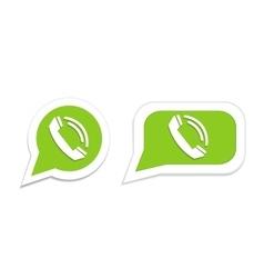 Phone handset in speech bubble icon vector image