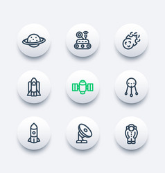 Space icons set in line style vector