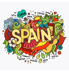 Spain hand lettering and doodles elements vector image vector image