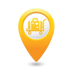 Suitcase on wheelbarrow icon yellow map pointer vector