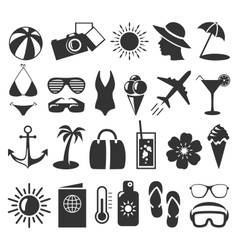 Summer flat icons set isolated on white vector image