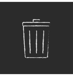 Trash can icon drawn in chalk vector