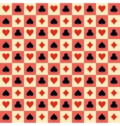 Two playing Cards Suits Seamless Patterns and vector image
