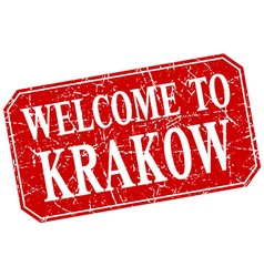 Welcome to krakow red square grunge stamp vector