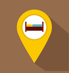 yellow map pointer with symbol hotel icon vector image