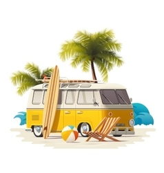 Realistic vintage surfer van on the beach vector