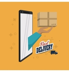 Package and smartphone icon delivery and shipping vector