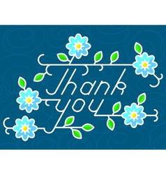 Thank you lettering with floral elements vector