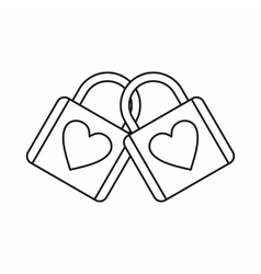 Two locked padlocks with hearts icon vector