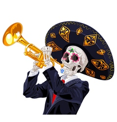 Day of the dead trumpet player vector