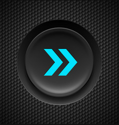 Black button with fast forward sign in blue on vector