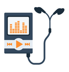 music player flat icon mp and device vector image