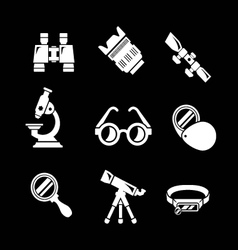 Set icons of optics equipment vector