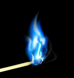 Burning match with blue flame vector