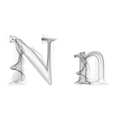 Black Smoke font Letter N vector image