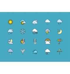 Symbols weather set of colorful outline icons vector