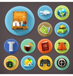 Vacation and travel long shadow icon set vector