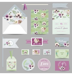 Set of wedding stationary - invitation card vector