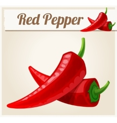 Red spicy peppers detailed icon vector