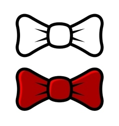 White and red bow tie icons isolated on white vector
