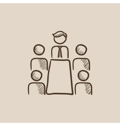Business meeting in the office sketch icon vector