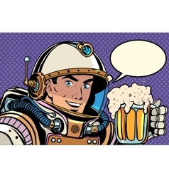 Astronaut with a mug of foaming beer vector